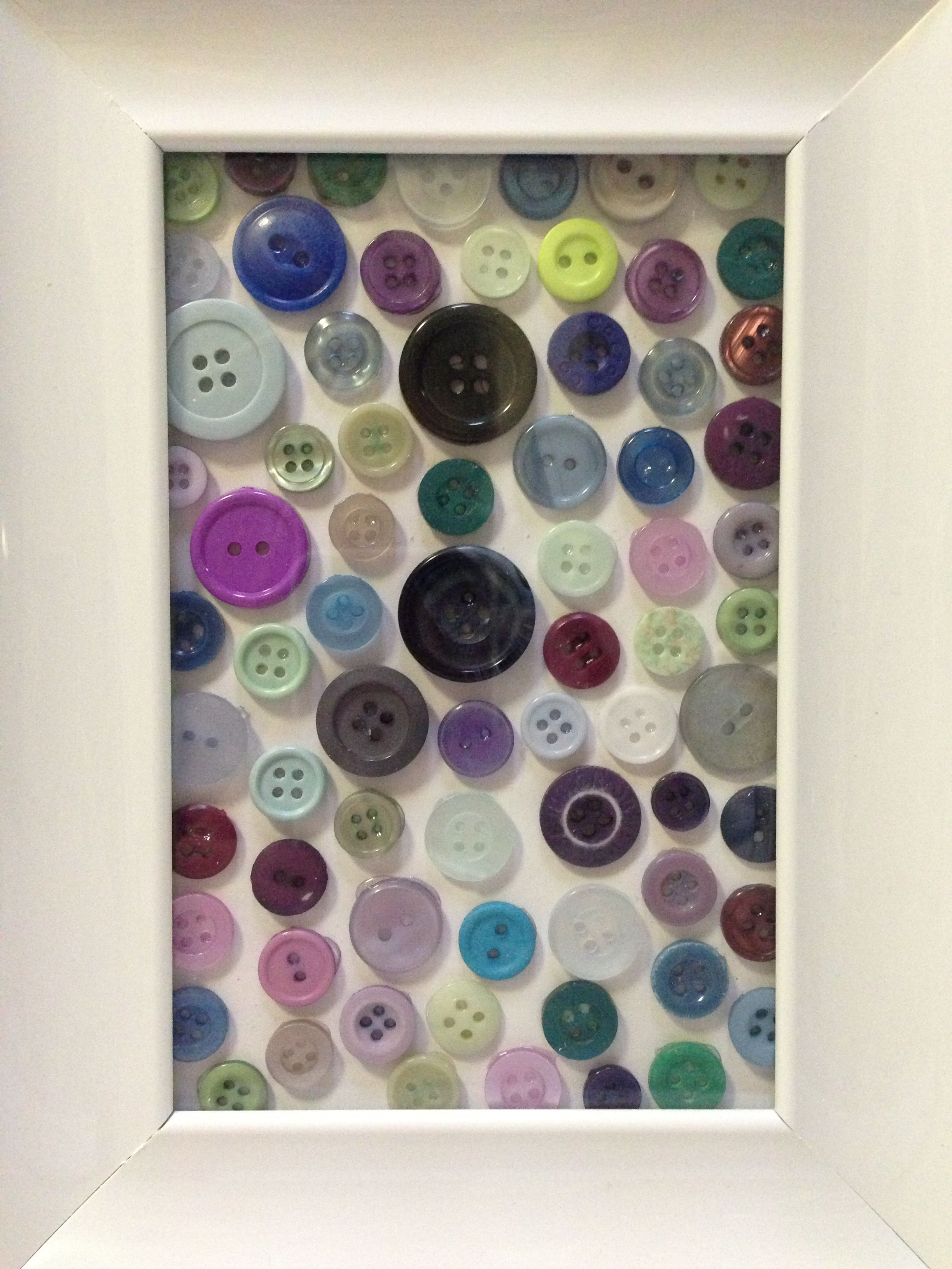 Buttons!! Cute buttons in frame. Nice for a nursery.