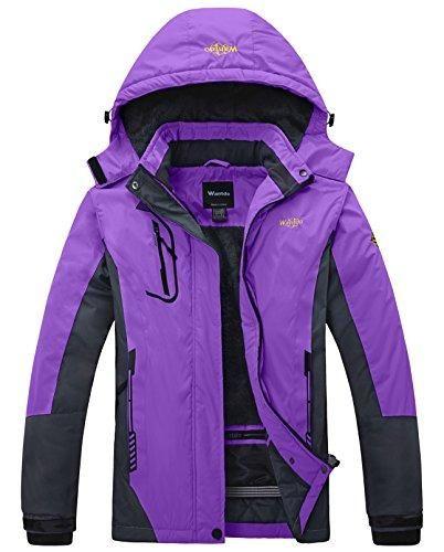 Wantdo Women s Mountain Waterproof Fleece Ski Jacket Windproof Rain Jacket 51431c7c4