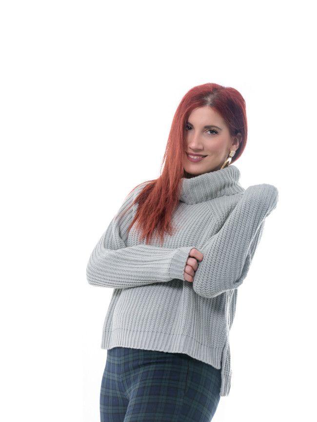 eb98dd660e3d Γυναικείο πλεκτό πουλόβερ Ghanda με φαρδύ γυριστό γιακά