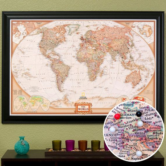 World TRAVEL Map 1 Push Pin Map Map of the World by WaterColorMaps – Push Pin Travel World Map