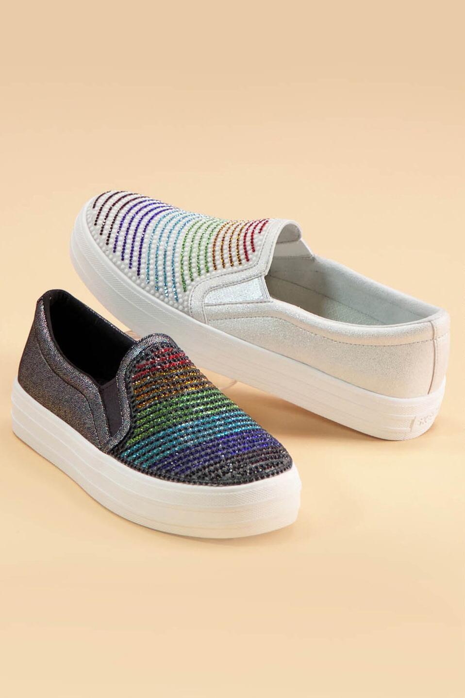 Rainbow Rhinestone Slip-On Sneaker by