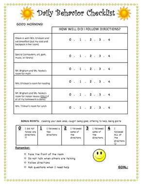 Behavioral Checklist For Teachers  Google Search  Behavior