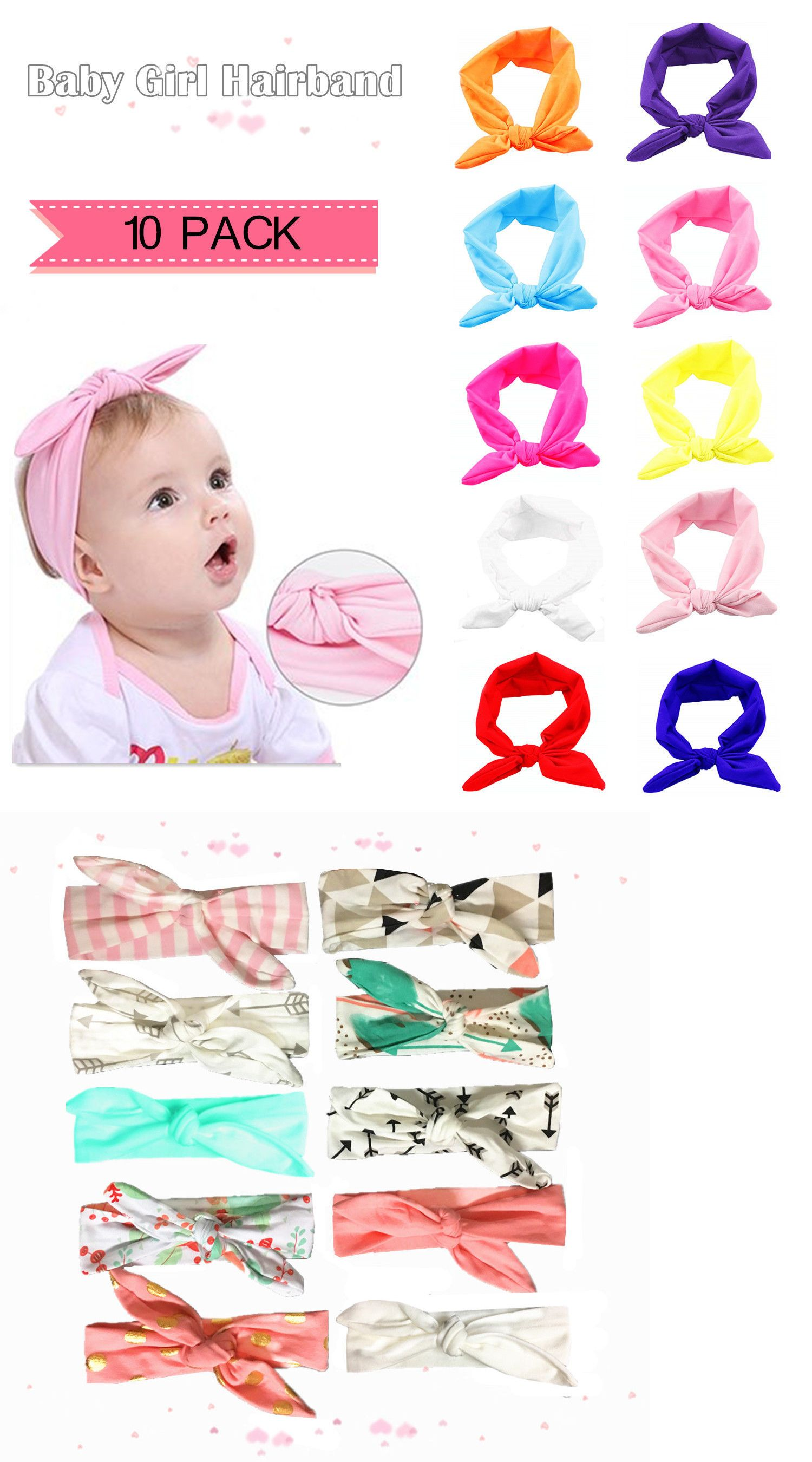 271538cad Baby Accessories 163222  10 Pack Baby Girl Flower Bow Hair Band ...
