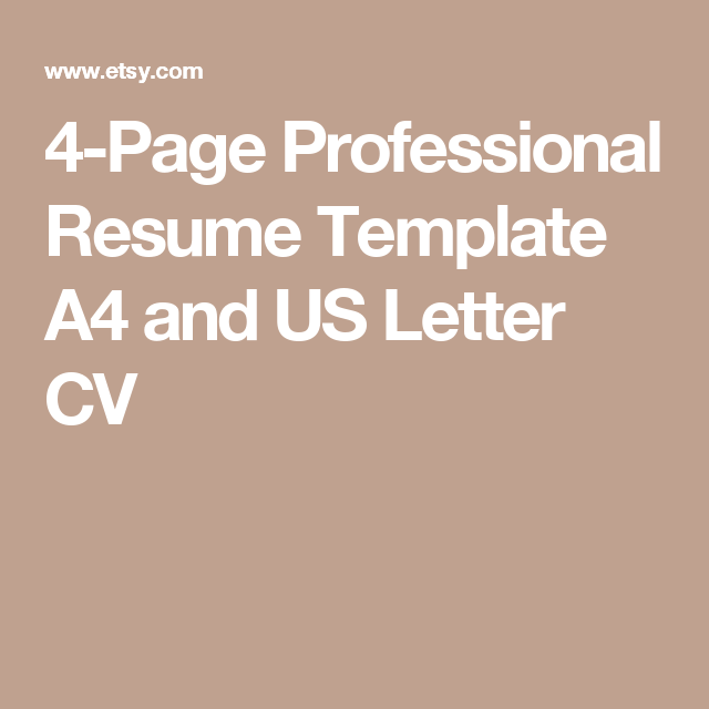Page Professional Resume Template A And Us Letter Cv