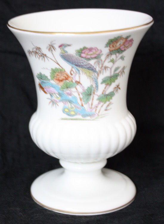 Wedgwood Kutani Crane 5 Urn Vase Bird Floral Design Gold Trim