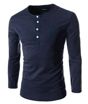 e2f8169010a Hot new spring autumn 2015 men s long-sleeved round neck collar shirt Slim  solid fashion