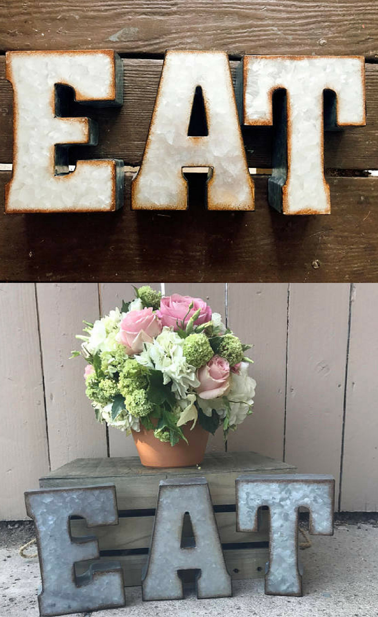Tin Letters Metal Eat  Zinc Eat Sign  Eat Kitchen Sign Rustic Letters