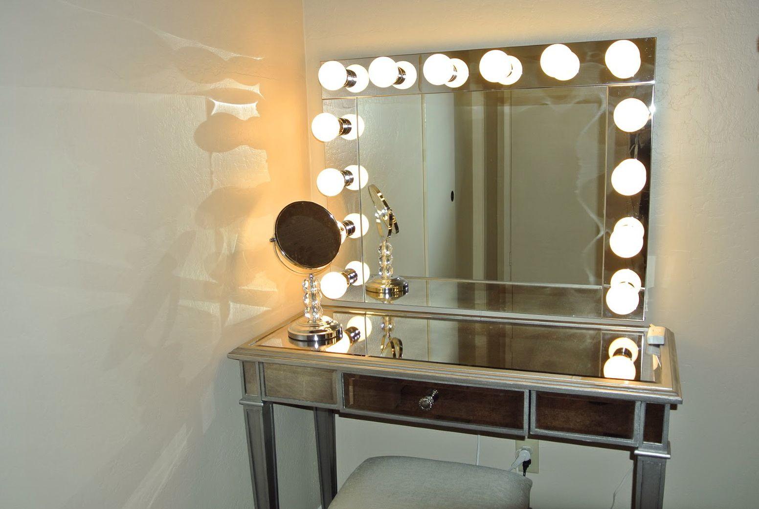 Vanity Girl Hollywood Mirror Silver Bedroom Vanity With Lights
