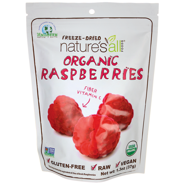 Nature's All Foods Organic Freeze-Dried Raspberries 1.3 oz Pkg - Swanson Health Products