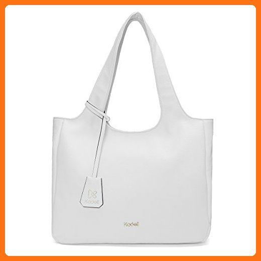 c330edf7764b Kadell Women Tote Bags Simple Designer Handbag for Ladies Soft PU Leather  Shoulder Bag White -