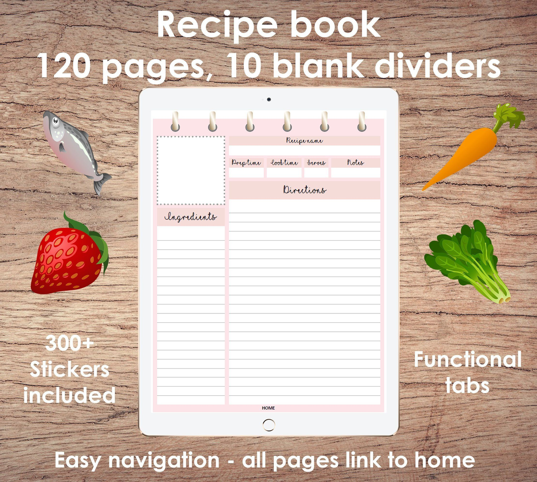Digital Recipe Book For Goodnotes App On Ipad Digital Recipe Book Recipe Book Digital Planner