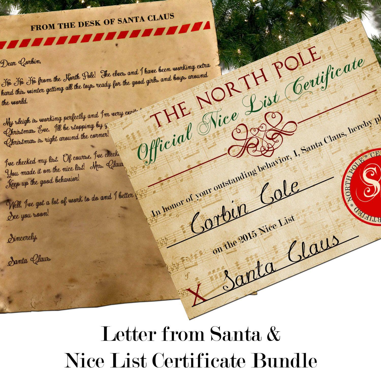 Custom Letter From Santa With Envelope  Nice List Certificate