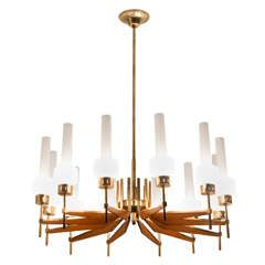 Large Italian Chandelier with 12 Lights with Brass and Wooden Details