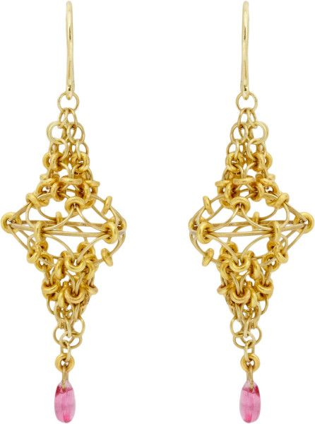 Marie-hélène De Taillac Pink Spinel Gold Spire Drop Earrings in Pink