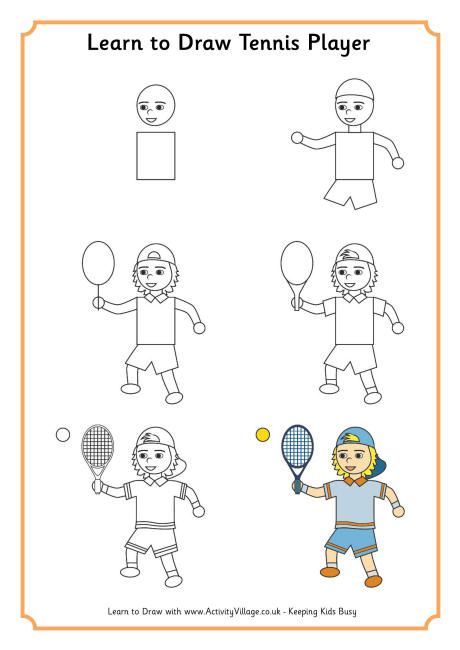 Learn To Draw A Tennis Player Drawing Lessons For Kids Drawing For Kids Learn To Draw