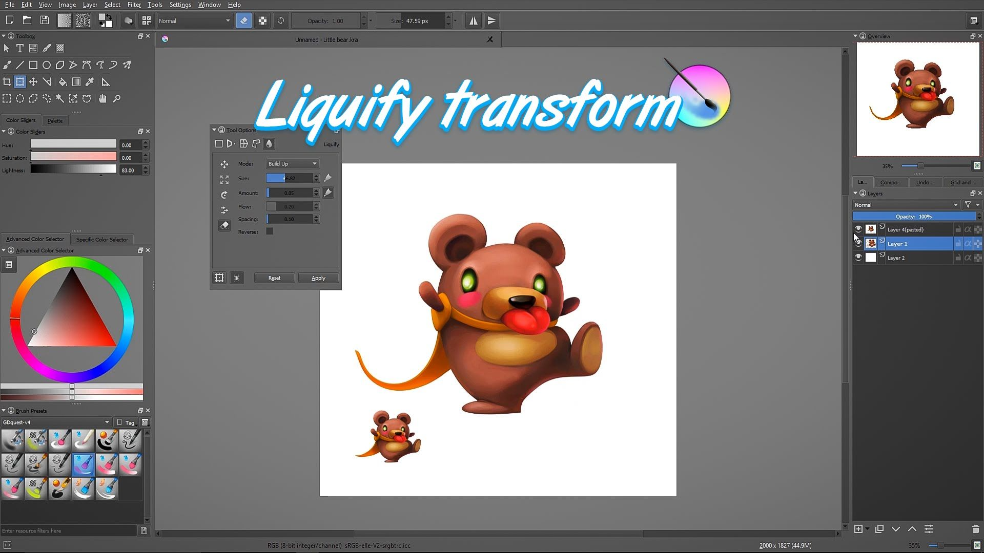 Krita tutorial: Sculpt your assets with the liquify