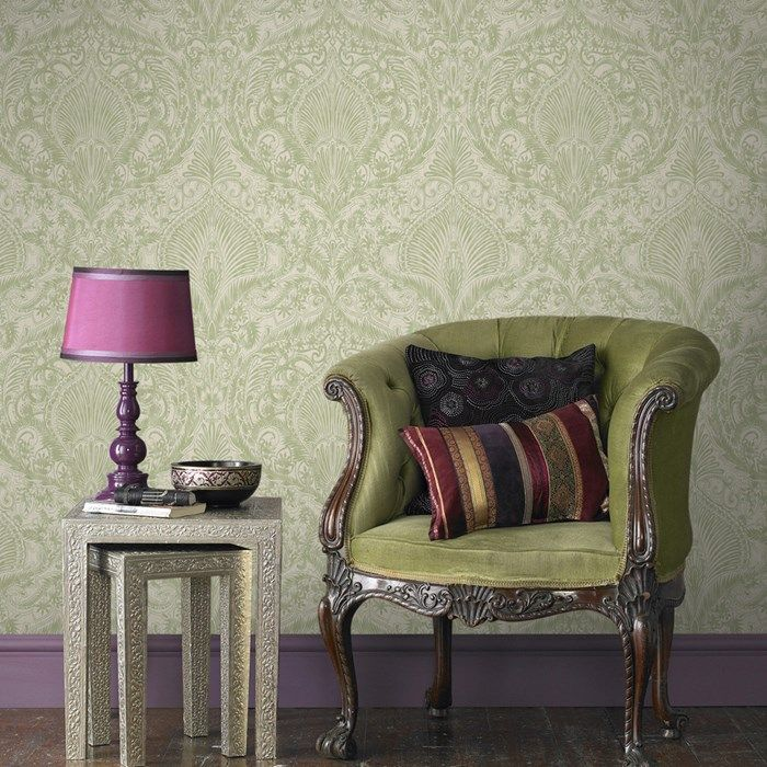 Vintage Flock Wallpaper By Kelly Hoppen Designer Green Wall Coverings By Graham Brown