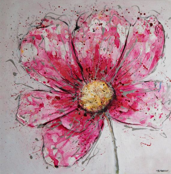 Pink Flower Painting Original Modern Fl Abstract Textured Art Canvas Contemporary Large 24 X24