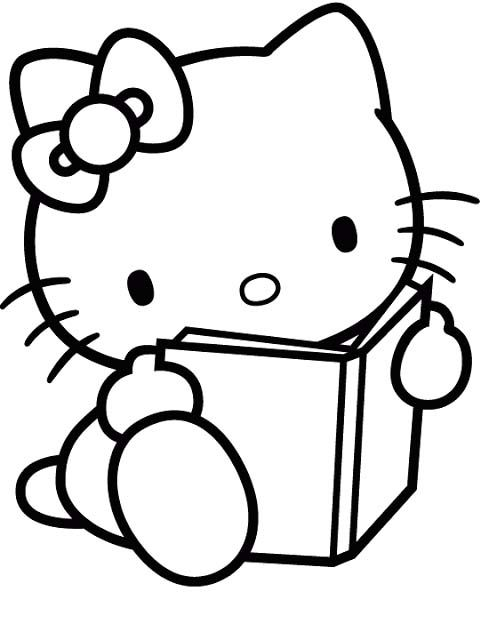 I have download Hello Kitty Reading Book Coloring Page | Craft Ideas ...