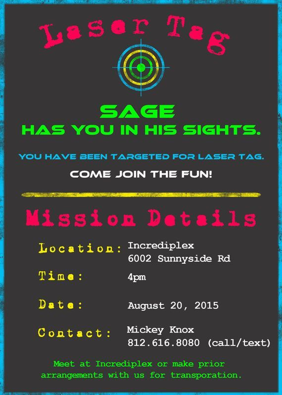 Laser Tag Paintball Birthday Invitation