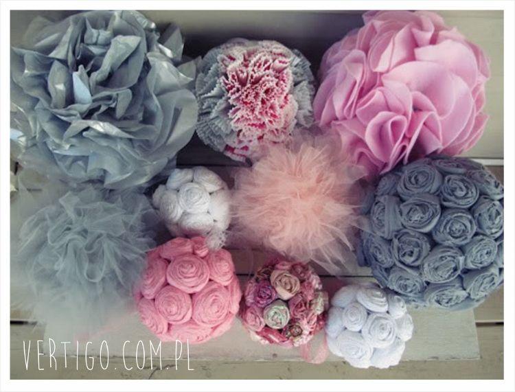 Kolorowe Pompony Z Tiulu Shabby Chic Mobile Crafts Diy Flowers