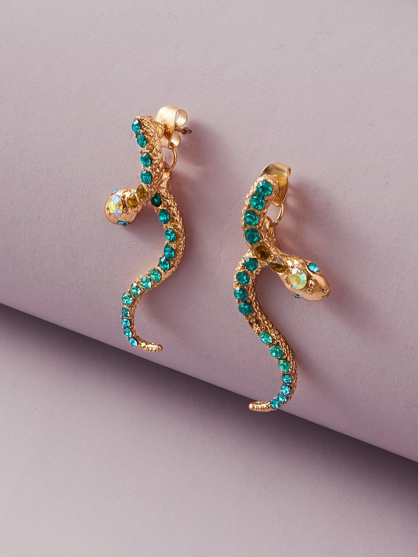 1pair Rhinestone Engraved Serpentine Earrings