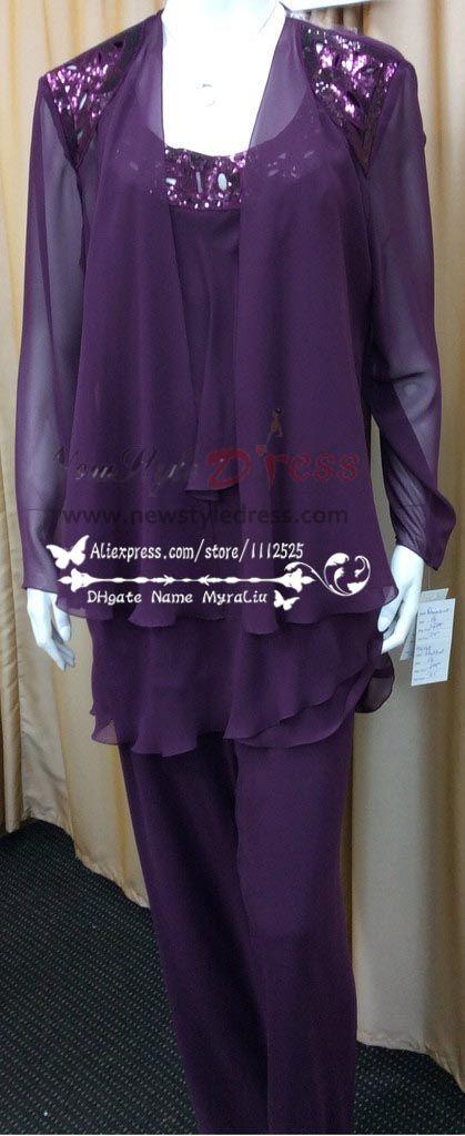 Custom made Plus Size Real Photo Beaded purple chiffon Mother of ...