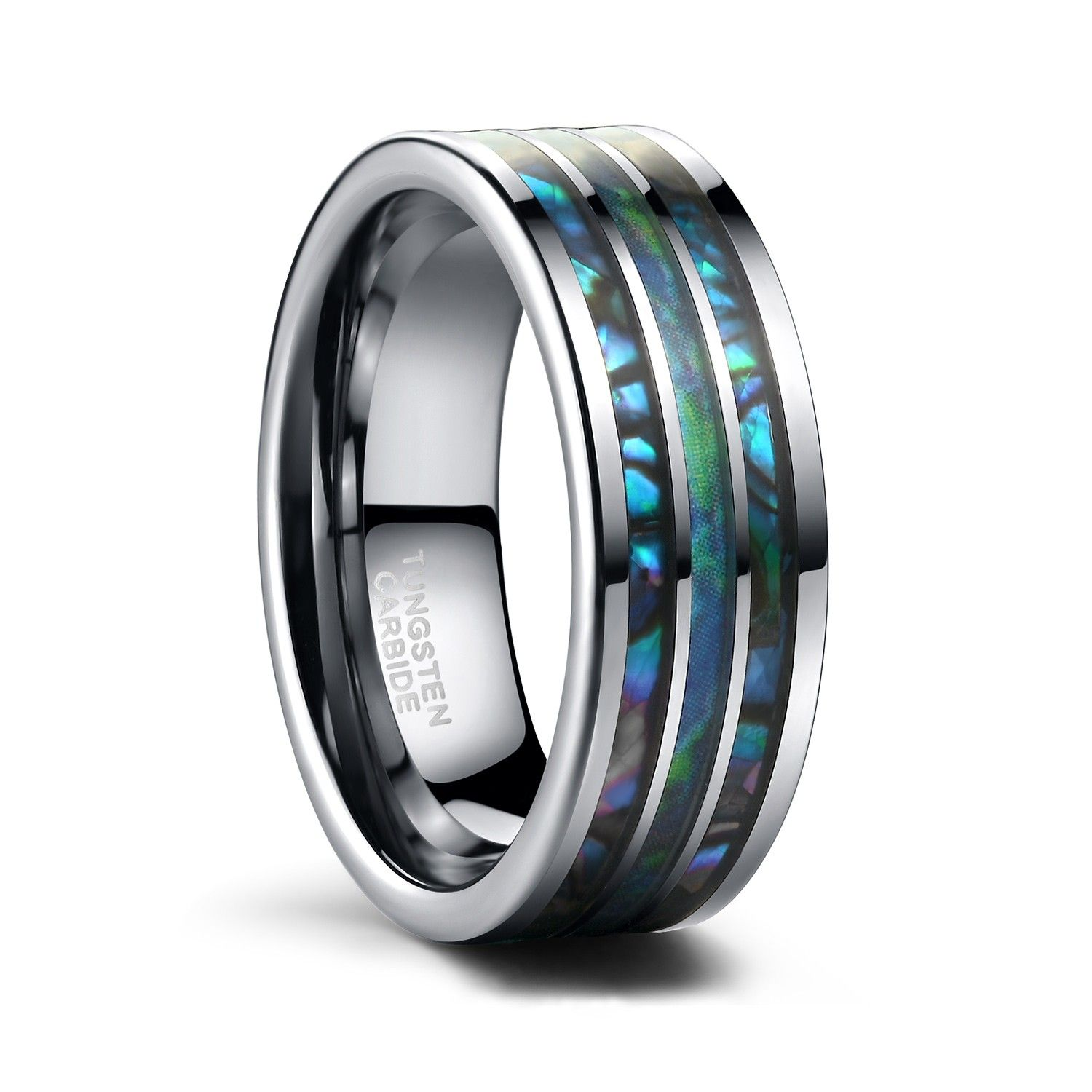 Tungsten Mens Wedding Bands Blue Opal and Abalone Shell
