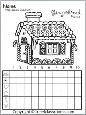 Gingerbread House Graph Christmas Math Activities Christmas Kindergarten Christmas Math Christmas graphing worksheets