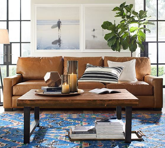 Turner Square Arm Leather Sofa | Pottery Barn | Decor Ideas