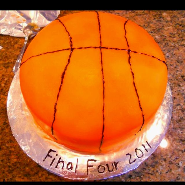 Basketball Cake Made From Orange Fondant Very Easy And Yummy Basketball Cake Yummy How To Make Cake