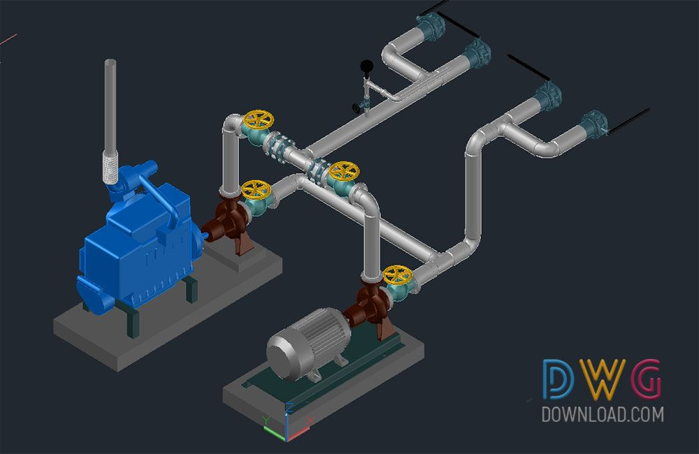 Dwg Download -Water Pump Connection Drawing 3D Drawings | Download