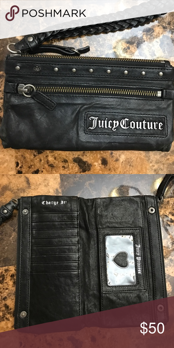 Juicy Couture Black Wristlet Black genuine leather wristlet. Zipper from pocket. Space for credit cards and ID inside. Two additional pockets accessible via zippers up top! So sad to see this go! Juicy Couture Bags Clutches & Wristlets