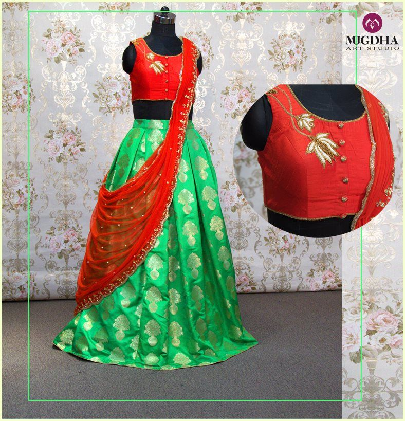 6c5eb4ef9c9 Parrot green banaras Lehenga with red crop top blouse teamed up with red  cut work dhupatta...!!Perfect ethnic outfit for a photo shootLadies what  you are ...
