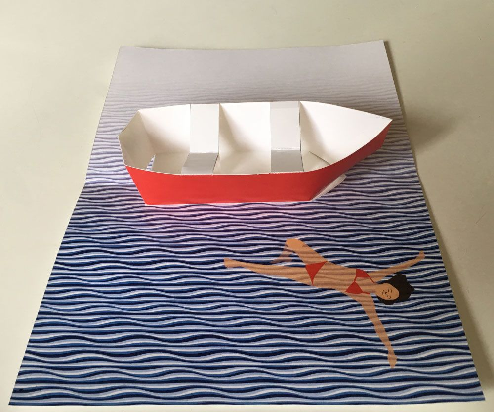 Row Boat Pop Up Card Printable Template Pop Up Cards Pop Up Book Pop Up