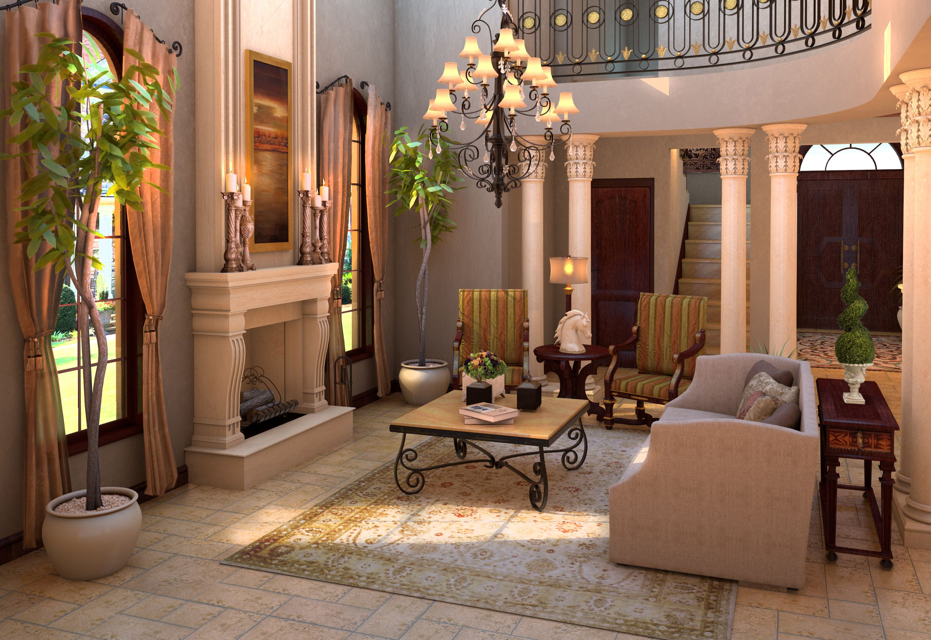 Tuscan living room architectural and interior design