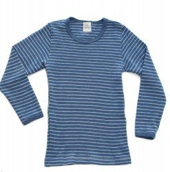 Hocosa Wool Long Sleeved Shirt in Blue Stripe