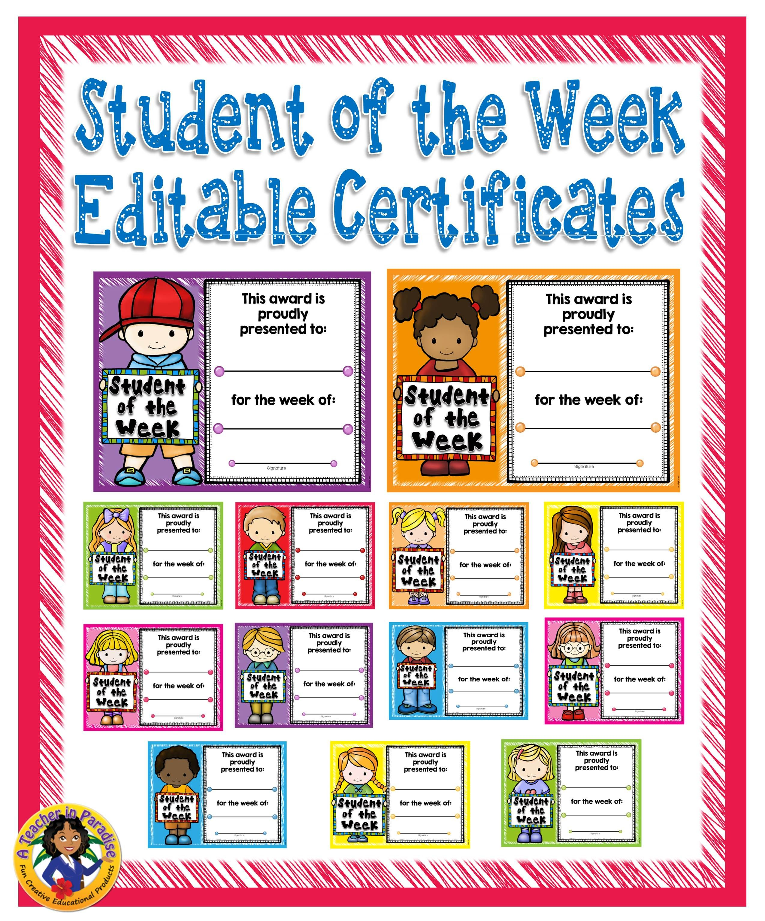 Student Of The Week Awards Pack Editable The Creative And
