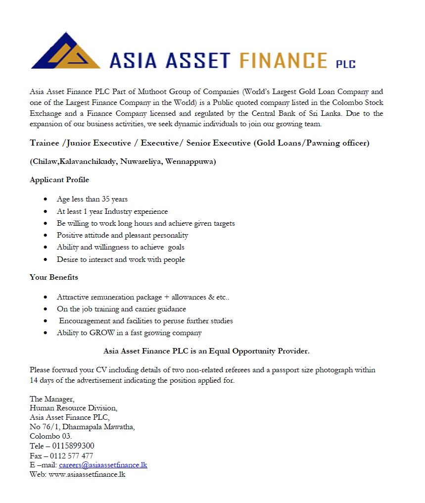 Trainee Junior Executive  Executive Senior Executive At Asia