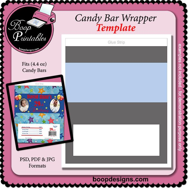 Candy Bar Wrapper (44 oz) - TEMPLATE by Boop Printable Designs - candy bar wrapper template