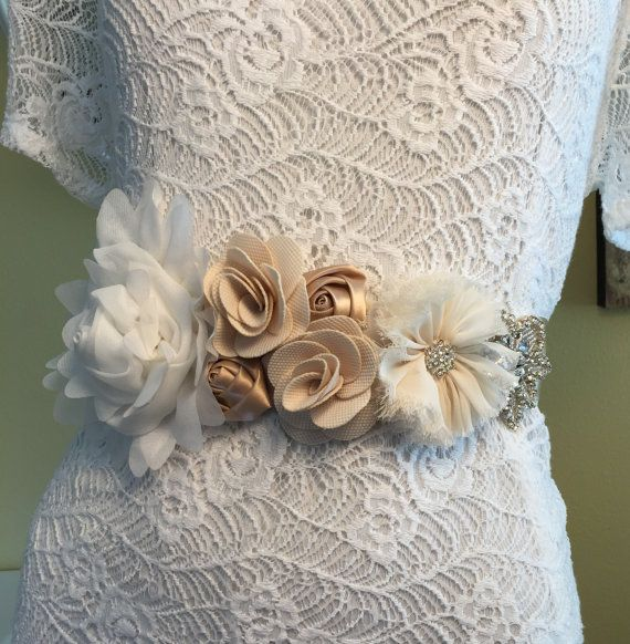 Flower Bridal Belt Flower Belt Rhinestone by BellaCescaBoutique
