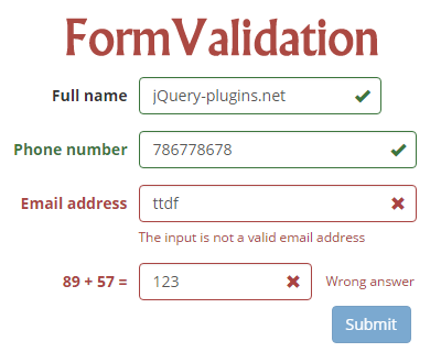 Formvalidation Jquery Plugin To Validate Form Fields Form
