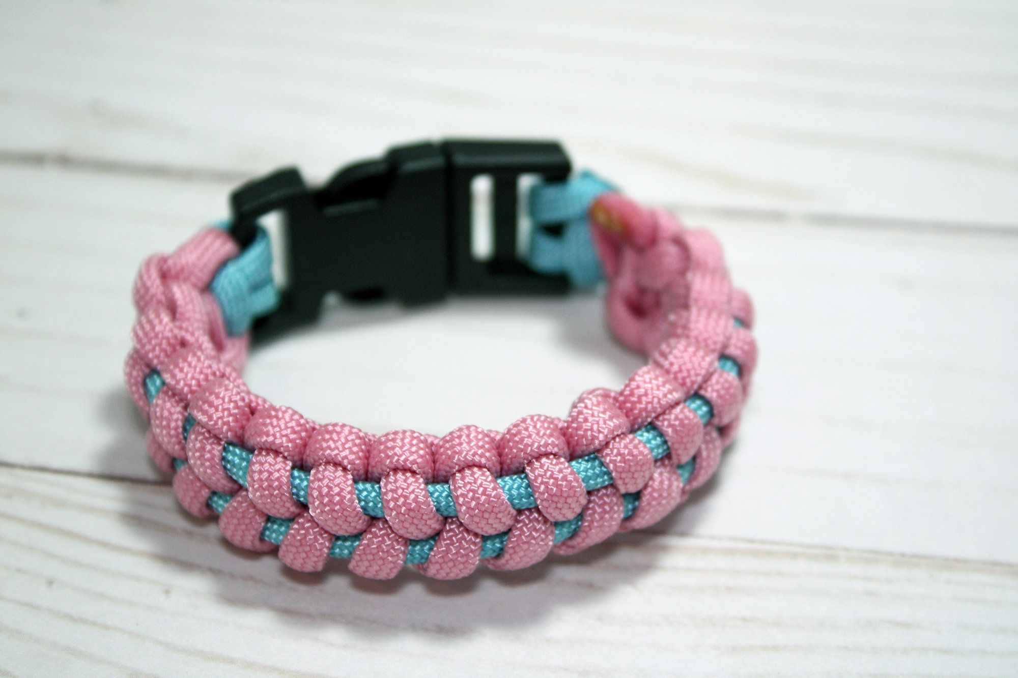 Survival Paracord Bracelet Baby Pink And Blue With Side Release