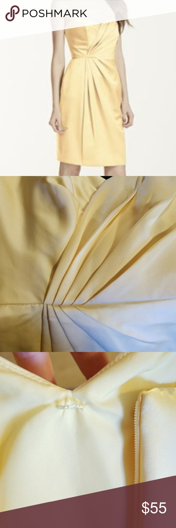 Strapless dress with pleating yellow formal nwt in my posh