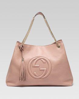 b704173bf Gucci Soho Gran bolso de cuero de doble cadena-correa, Cipria ...
