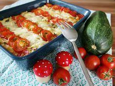 Zucchini-Spätzle-Auflauf mit Tomaten und Mozzarella