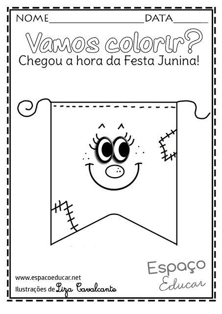 Lindos e inéditos desenhos de Festa Junina para colorir