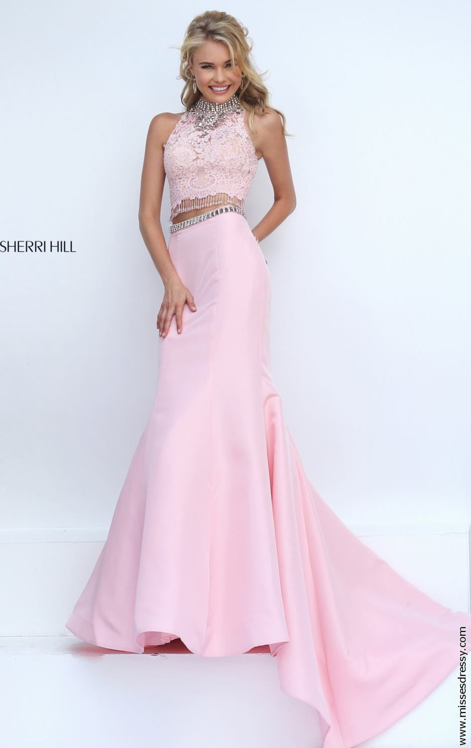 2016 Jeweled Lace Blush Sherri Hill 32348 Two Piece Mermaid Gown Outlet