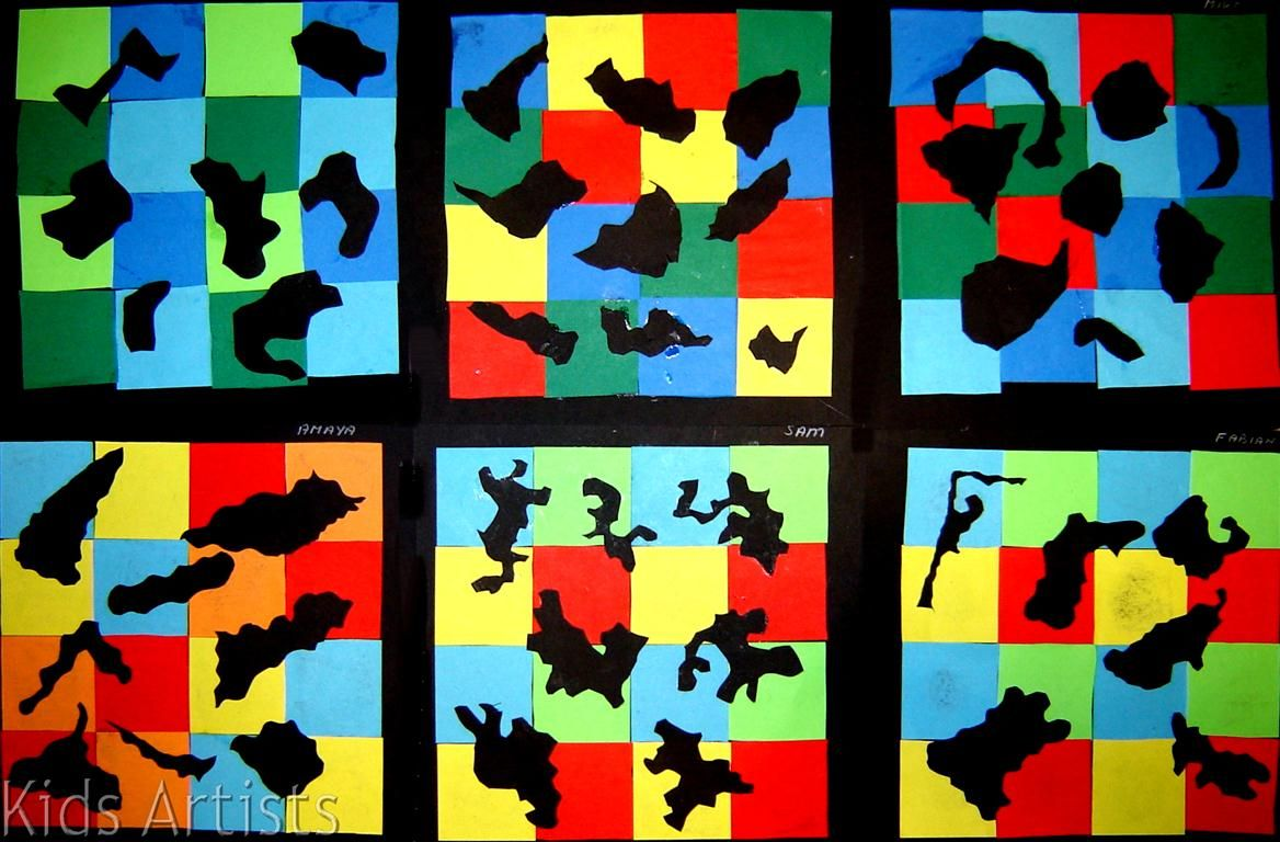 geometric and organic shapes collage | art projects for younger kids