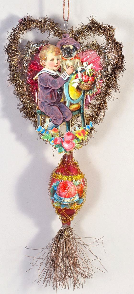 Boy with Pug Doggie on Tinsel by DresdenStarOrnaments http://victorianornaments.com/
